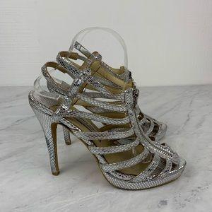 Jimmy Choo Silver Gladiator Strappy Heels